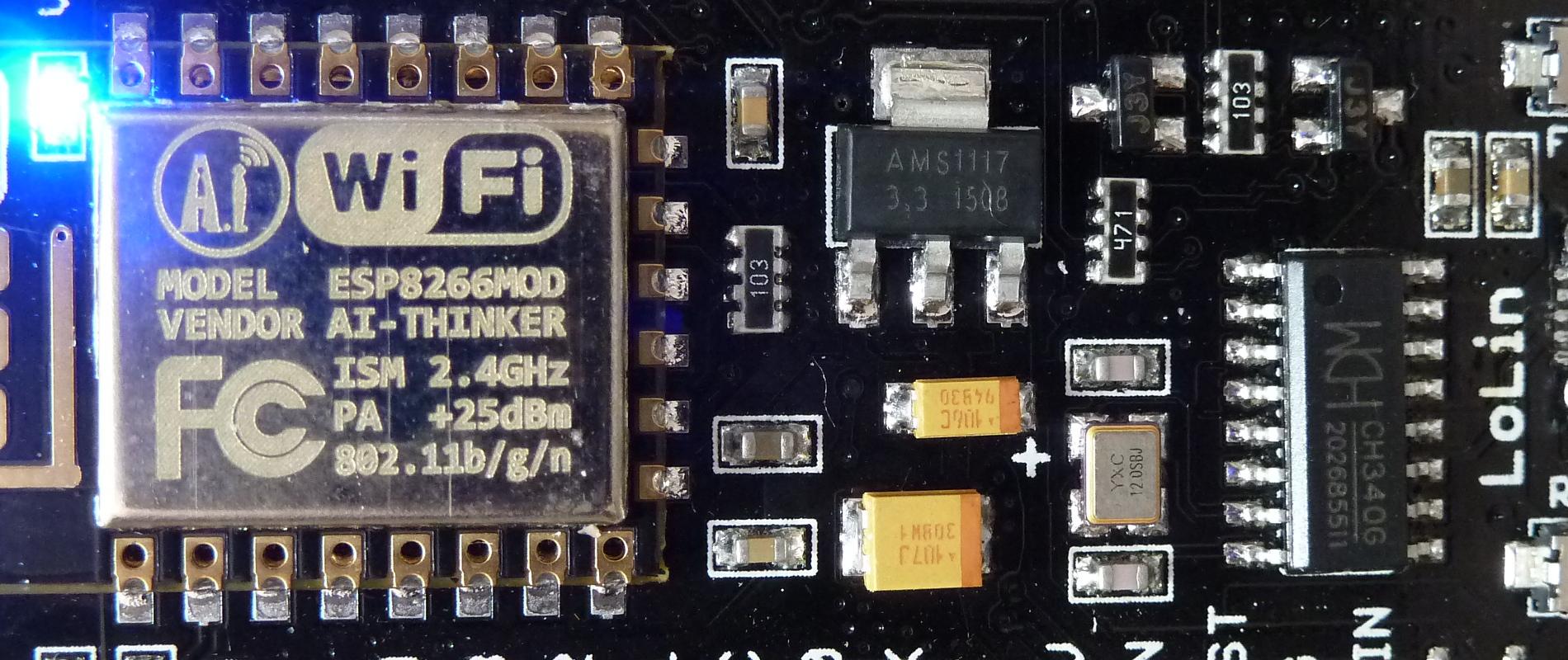 Mise en route d'une carte <em>WeMos-LoLin</em> avec le firmware NodeMCU et un module WiFi ESP8266