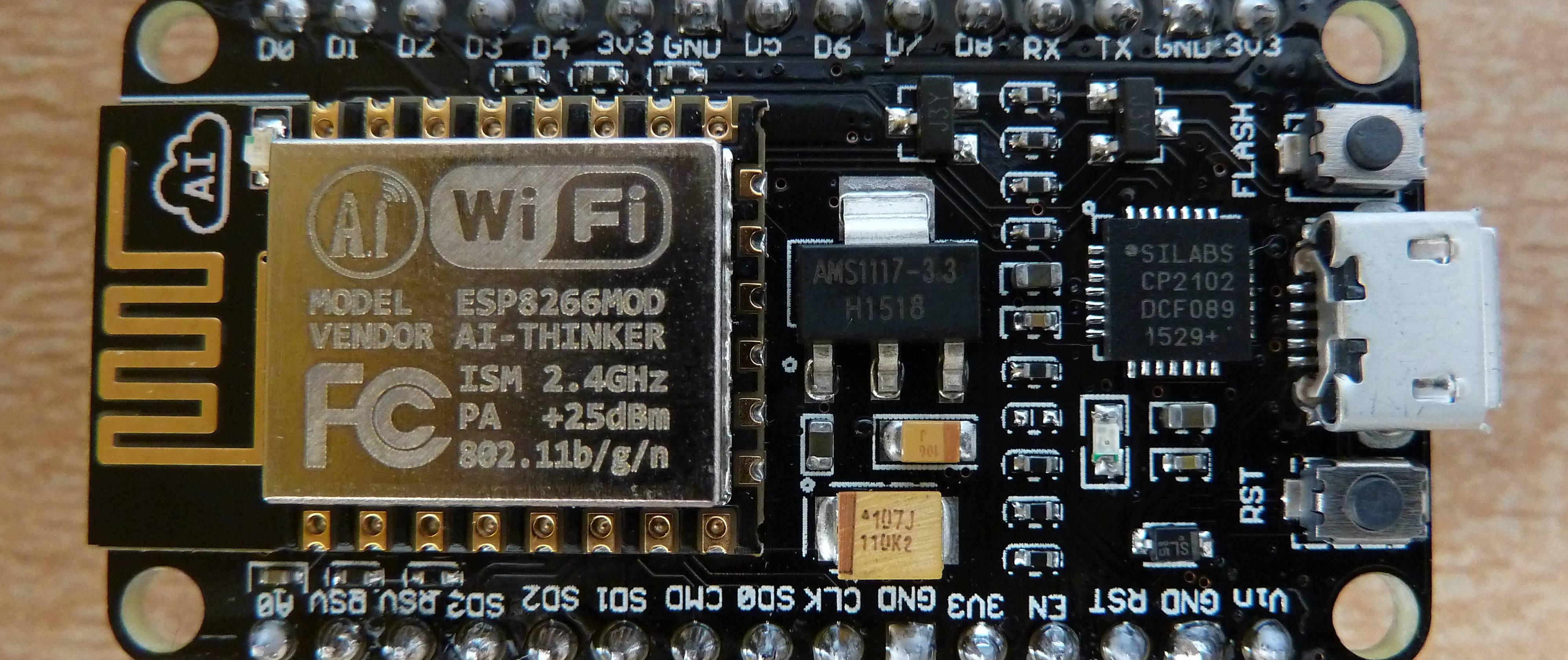 Mise en route d'une carte <em>Amica</em> avec le firmware NodeMCU et un module WiFi ESP8266